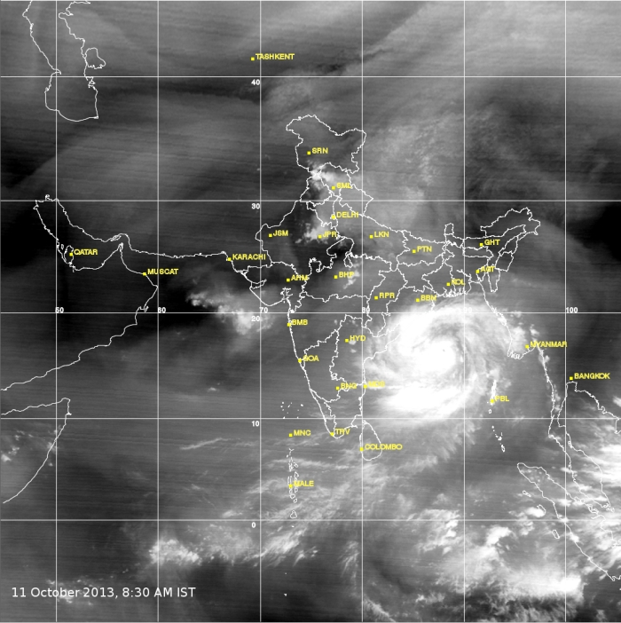 Cyclone Phailin: imaged by IMD at 8:30 AM on 11 October, 2013.